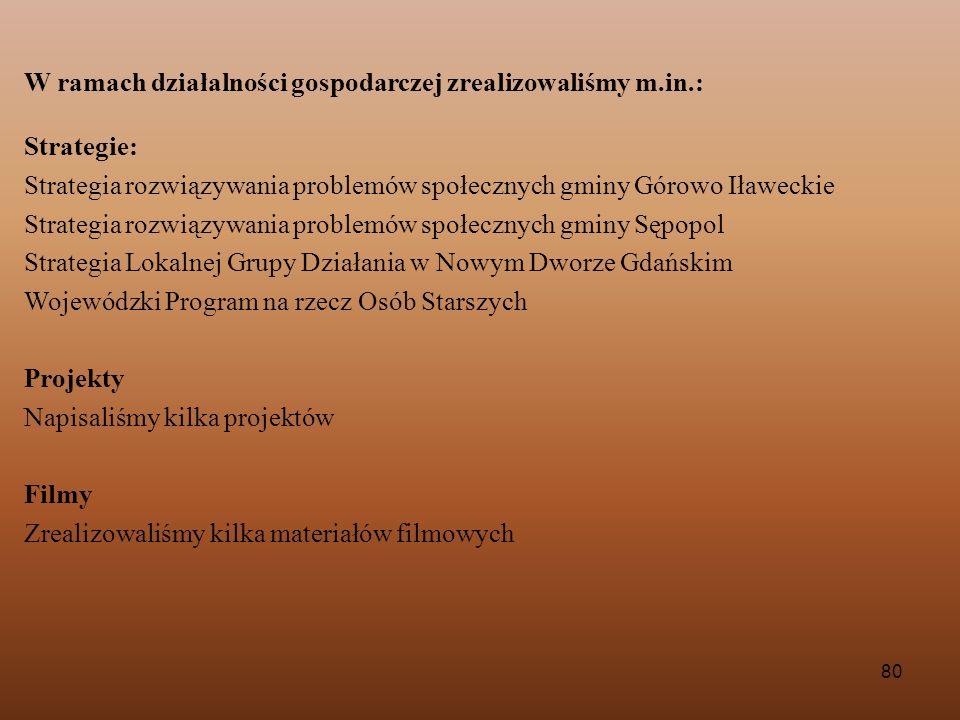 80 W ramach działalności gospodarczej zrealizowaliśmy m.in.: Strategie: Strategia rozwiązywania problemów społecznych gminy Górowo Iławeckie Strategia