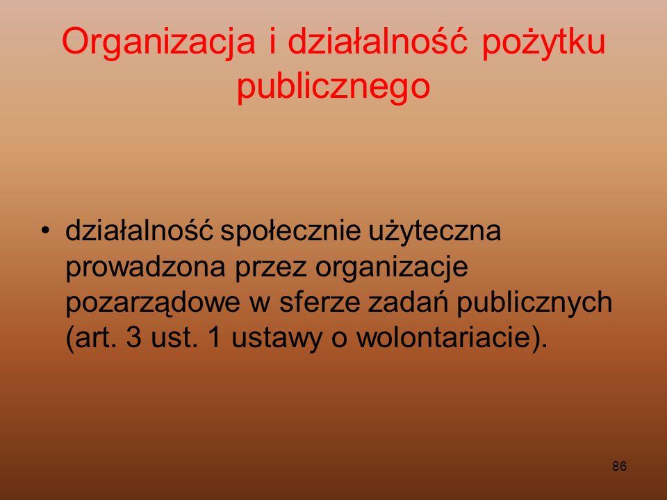 86 Organizacja i działalność pożytku publicznego działalność społecznie użyteczna prowadzona przez organizacje pozarządowe w sferze zadań publicznych