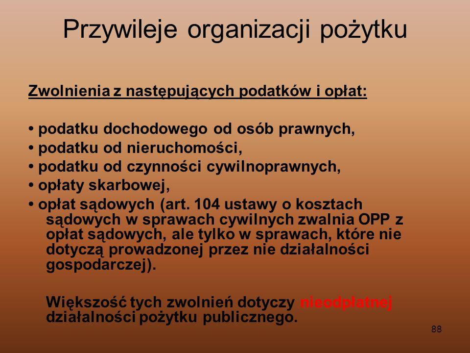 88 Przywileje organizacji pożytku Zwolnienia z następujących podatków i opłat: podatku dochodowego od osób prawnych, podatku od nieruchomości, podatku