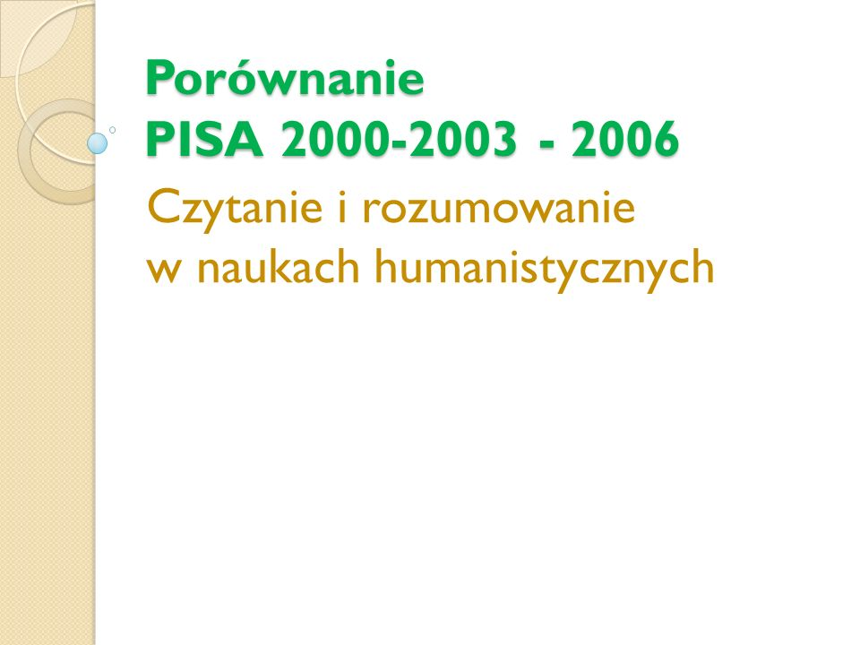 Porównanie PISA 2000-2003 - 2006 Czytanie i rozumowanie w naukach humanistycznych