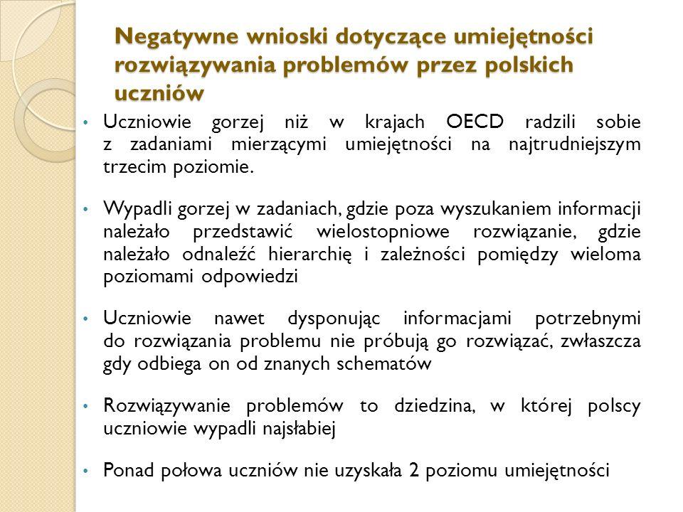 Negatywne wnioski dotyczące umiejętności rozwiązywania problemów przez polskich uczniów Uczniowie gorzej niż w krajach OECD radzili sobie z zadaniami mierzącymi umiejętności na najtrudniejszym trzecim poziomie.