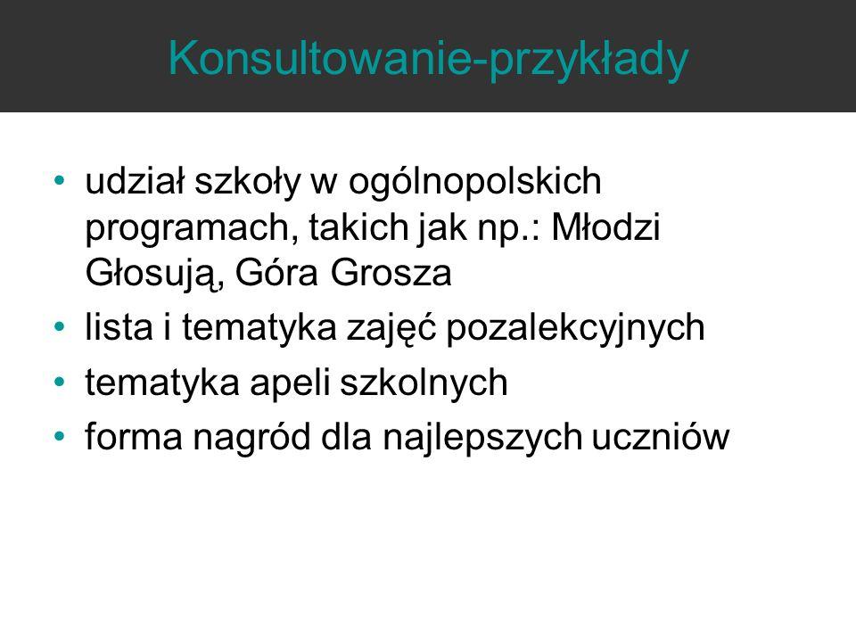 Konsultowanie-przykłady udział szkoły w ogólnopolskich programach, takich jak np.: Młodzi Głosują, Góra Grosza lista i tematyka zajęć pozalekcyjnych t