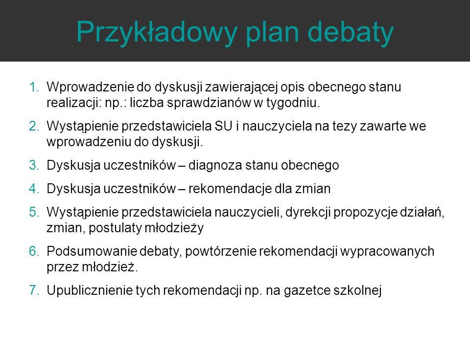 Przykładowy plan debaty 1.Wprowadzenie do dyskusji zawierającej opis obecnego stanu realizacji: np.: liczba sprawdzianów w tygodniu. 2.Wystąpienie prz