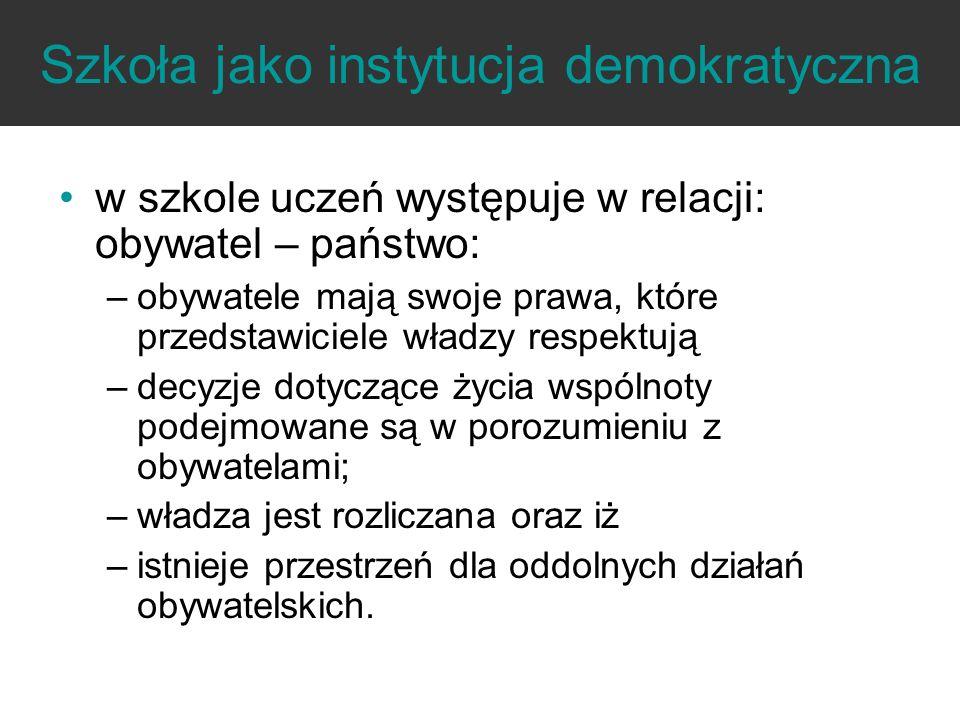 Szkoła jako instytucja demokratyczna w szkole uczeń występuje w relacji: obywatel – państwo: –obywatele mają swoje prawa, które przedstawiciele władzy
