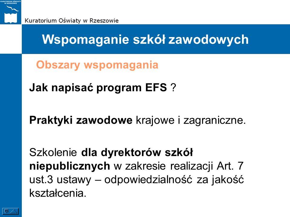 Wspomaganie szkół zawodowych Jak napisać program EFS ? Praktyki zawodowe krajowe i zagraniczne. Szkolenie dla dyrektorów szkół niepublicznych w zakres