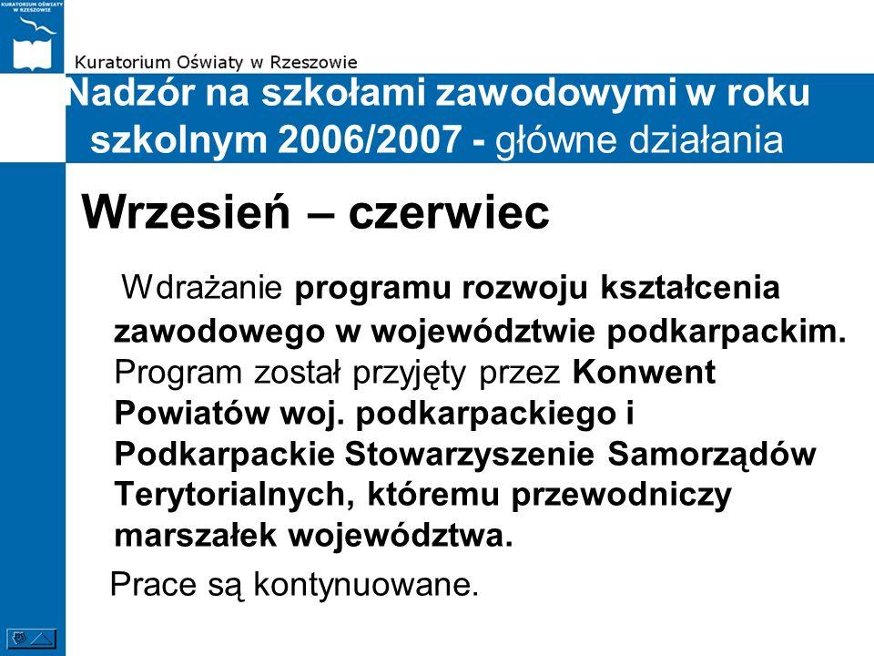 Nadzór na szkołami zawodowymi w roku szkolnym 2006/2007 - główne działania Wrzesień – czerwiec Wdrażanie programu rozwoju kształcenia zawodowego w woj