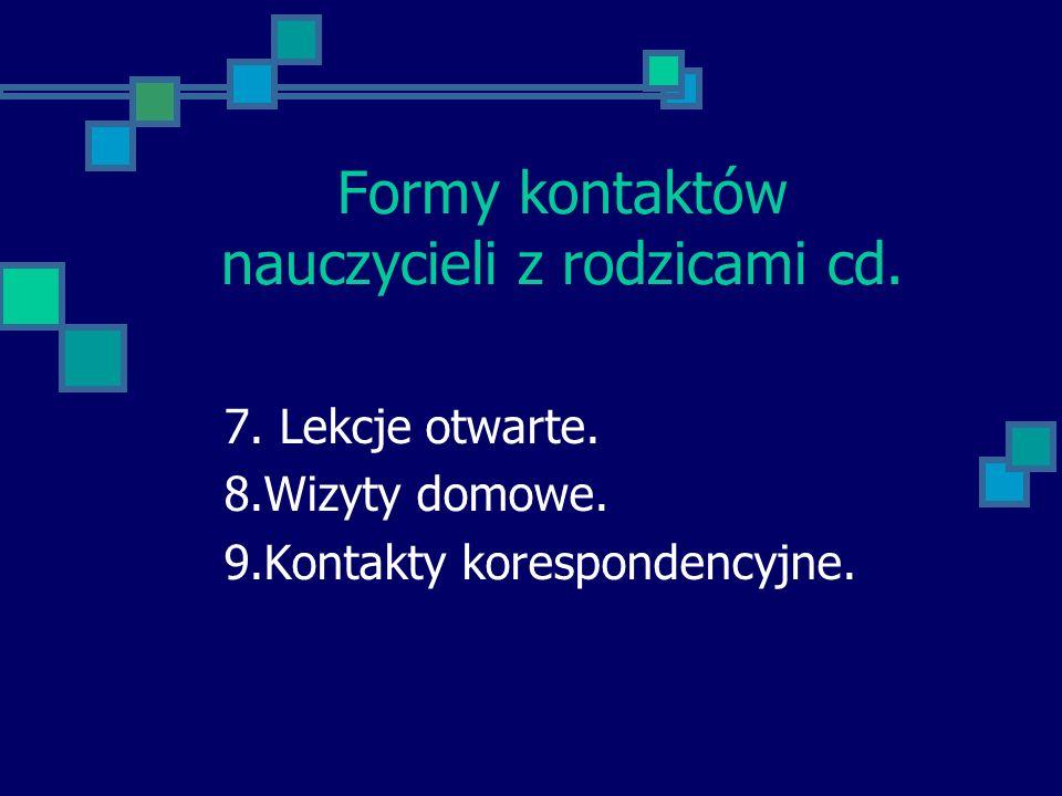 Formy kontaktów nauczycieli z rodzicami cd. 7. Lekcje otwarte. 8.Wizyty domowe. 9.Kontakty korespondencyjne.