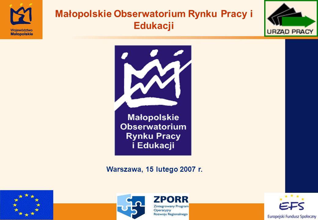 1 Małopolskie Obserwatorium Rynku Pracy i Edukacji Warszawa, 15 lutego 2007 r.