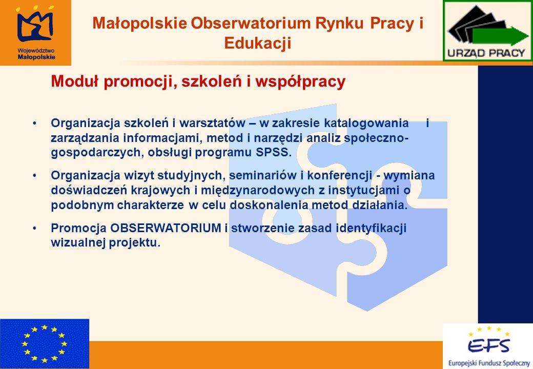 10 Moduł promocji, szkoleń i współpracy Organizacja szkoleń i warsztatów – w zakresie katalogowania i zarządzania informacjami, metod i narzędzi analiz społeczno- gospodarczych, obsługi programu SPSS.