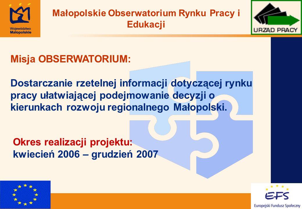 2 Misja OBSERWATORIUM: Dostarczanie rzetelnej informacji dotyczącej rynku pracy ułatwiającej podejmowanie decyzji o kierunkach rozwoju regionalnego Małopolski.