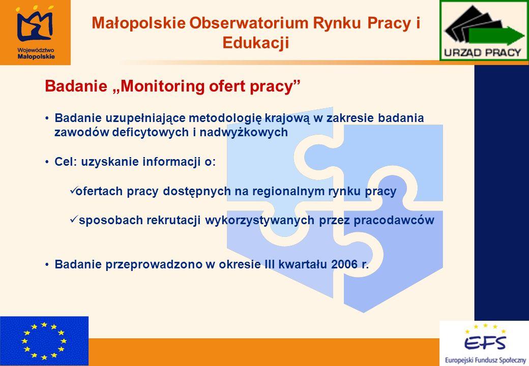 6 Badanie Monitoring ofert pracy Badanie uzupełniające metodologię krajową w zakresie badania zawodów deficytowych i nadwyżkowych Cel: uzyskanie infor