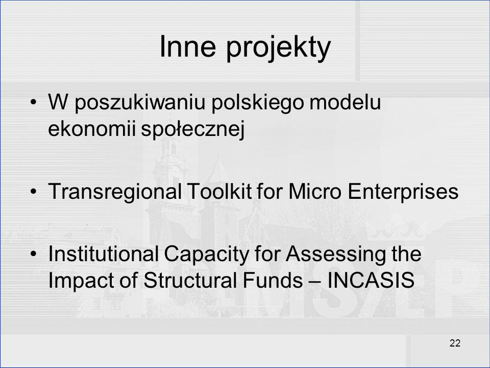 22 Inne projekty W poszukiwaniu polskiego modelu ekonomii społecznej Transregional Toolkit for Micro Enterprises Institutional Capacity for Assessing
