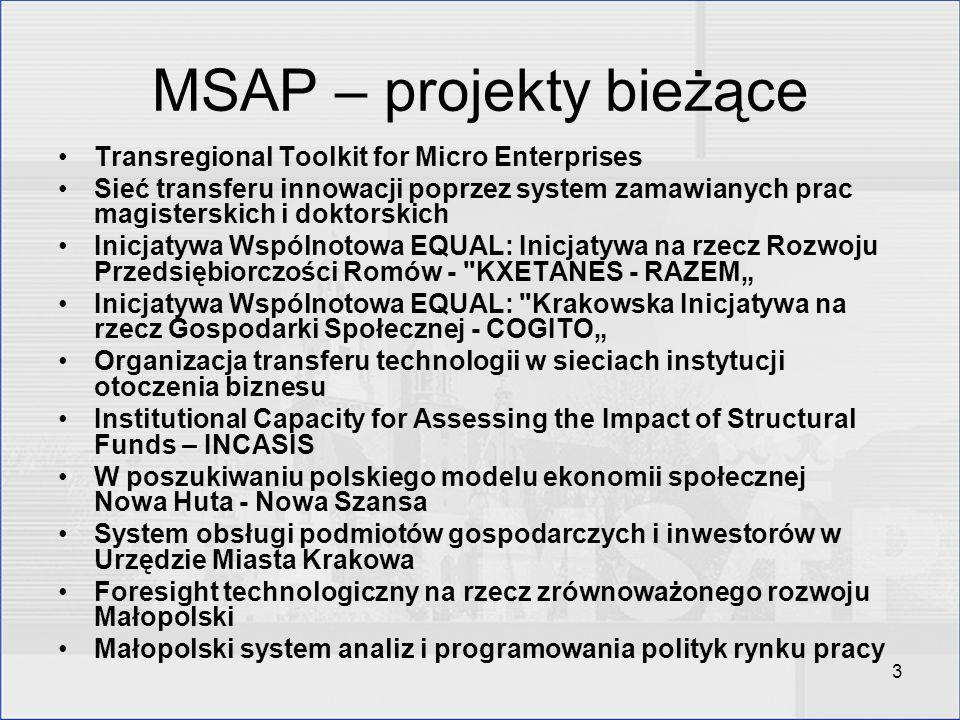 3 MSAP – projekty bieżące Transregional Toolkit for Micro Enterprises Sieć transferu innowacji poprzez system zamawianych prac magisterskich i doktors