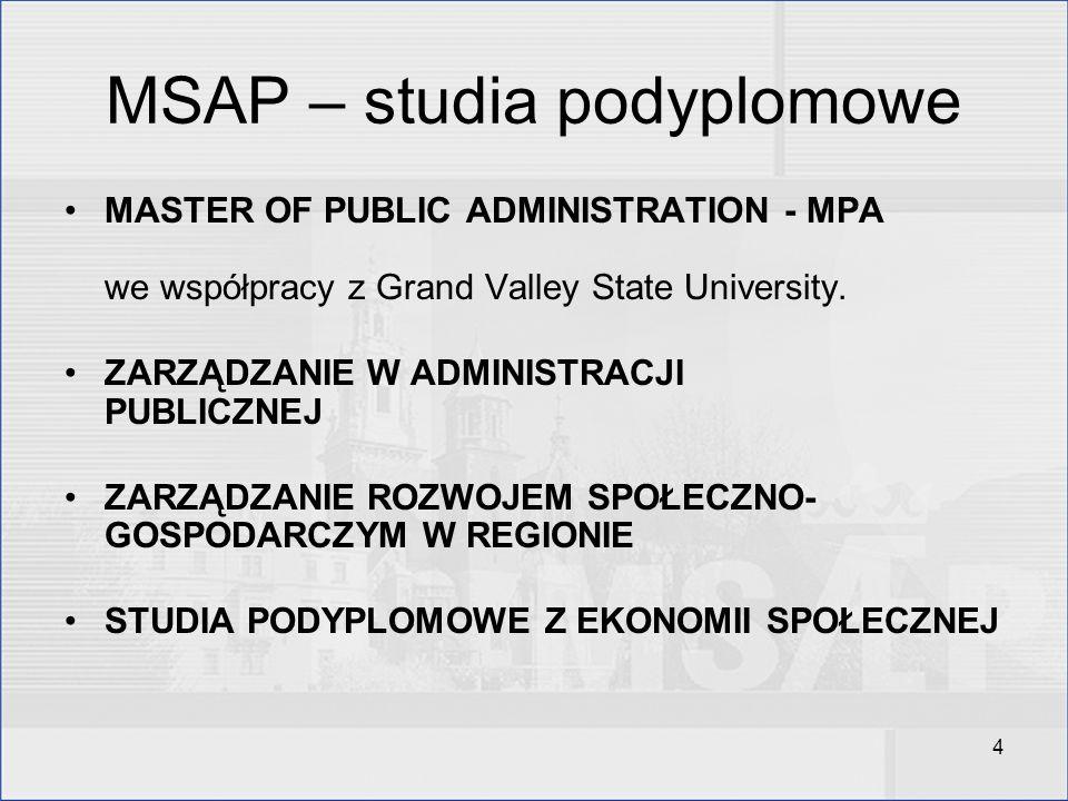 4 MSAP – studia podyplomowe MASTER OF PUBLIC ADMINISTRATION - MPA we współpracy z Grand Valley State University. ZARZĄDZANIE W ADMINISTRACJI PUBLICZNE