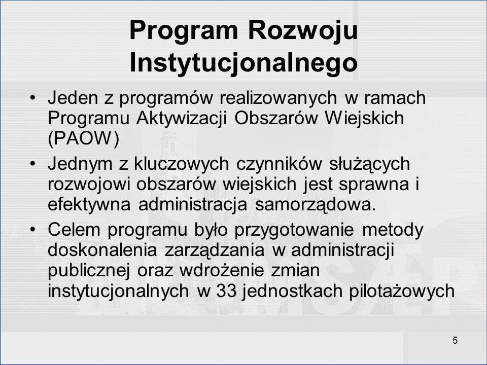 5 Program Rozwoju Instytucjonalnego Jeden z programów realizowanych w ramach Programu Aktywizacji Obszarów Wiejskich (PAOW) Jednym z kluczowych czynni