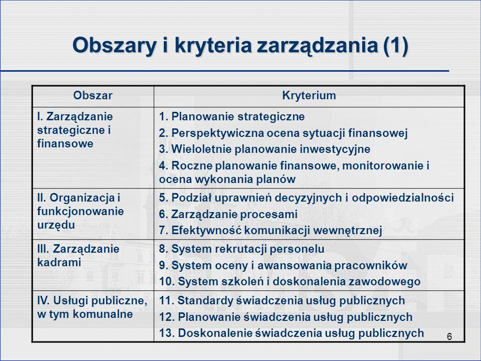 6 Obszary i kryteria zarządzania (1) ObszarKryterium I. Zarządzanie strategiczne i finansowe 1. Planowanie strategiczne 2. Perspektywiczna ocena sytua