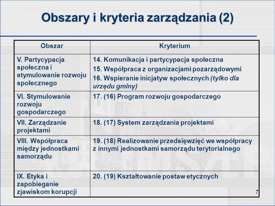 8 Raport ogólny z wynikami analizy – fragment Obszar zarządzania Kryterium zarządzania Stadium rozwoju 12345 I.
