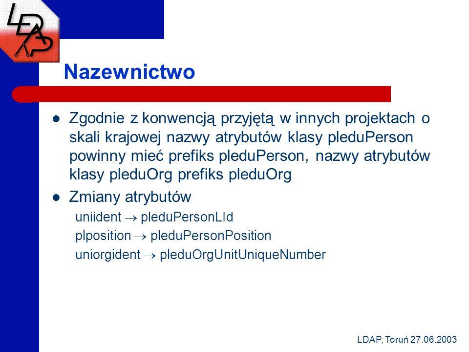 LDAP, Toruń 27.06.2003 Nazewnictwo Zgodnie z konwencją przyjętą w innych projektach o skali krajowej nazwy atrybutów klasy pleduPerson powinny mieć pr