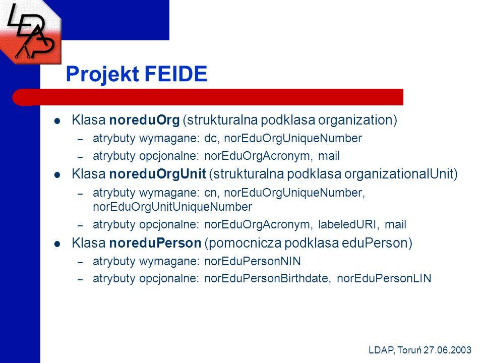 LDAP, Toruń 27.06.2003 Projekt FEIDE Klasa noreduOrg (strukturalna podklasa organization) – atrybuty wymagane: dc, norEduOrgUniqueNumber – atrybuty op