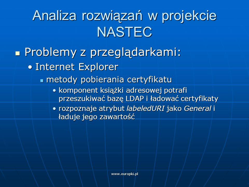 Analiza rozwiązań w projekcie NASTEC Problemy z przeglądarkami: Problemy z przeglądarkami: Internet ExplorerInternet Explorer metody pobierania certyfikatu metody pobierania certyfikatu komponent książki adresowej potrafi przeszukiwać bazę LDAP i ładować certyfikatykomponent książki adresowej potrafi przeszukiwać bazę LDAP i ładować certyfikaty rozpoznaje atrybut labeledURI jako General i ładuje jego zawartośćrozpoznaje atrybut labeledURI jako General i ładuje jego zawartość