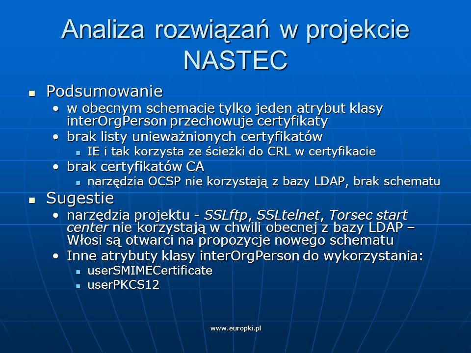 Analiza rozwiązań w projekcie NASTEC Podsumowanie Podsumowanie w obecnym schemacie tylko jeden atrybut klasy interOrgPerson przechowuje certyfikatyw obecnym schemacie tylko jeden atrybut klasy interOrgPerson przechowuje certyfikaty brak listy unieważnionych certyfikatówbrak listy unieważnionych certyfikatów IE i tak korzysta ze ścieżki do CRL w certyfikacie IE i tak korzysta ze ścieżki do CRL w certyfikacie brak certyfikatów CAbrak certyfikatów CA narzędzia OCSP nie korzystają z bazy LDAP, brak schematu narzędzia OCSP nie korzystają z bazy LDAP, brak schematu Sugestie Sugestie narzędzia projektu - SSLftp, SSLtelnet, Torsec start center nie korzystają w chwili obecnej z bazy LDAP – Włosi są otwarci na propozycje nowego schematunarzędzia projektu - SSLftp, SSLtelnet, Torsec start center nie korzystają w chwili obecnej z bazy LDAP – Włosi są otwarci na propozycje nowego schematu Inne atrybuty klasy interOrgPerson do wykorzystania:Inne atrybuty klasy interOrgPerson do wykorzystania: userSMIMECertificate userSMIMECertificate userPKCS12 userPKCS12
