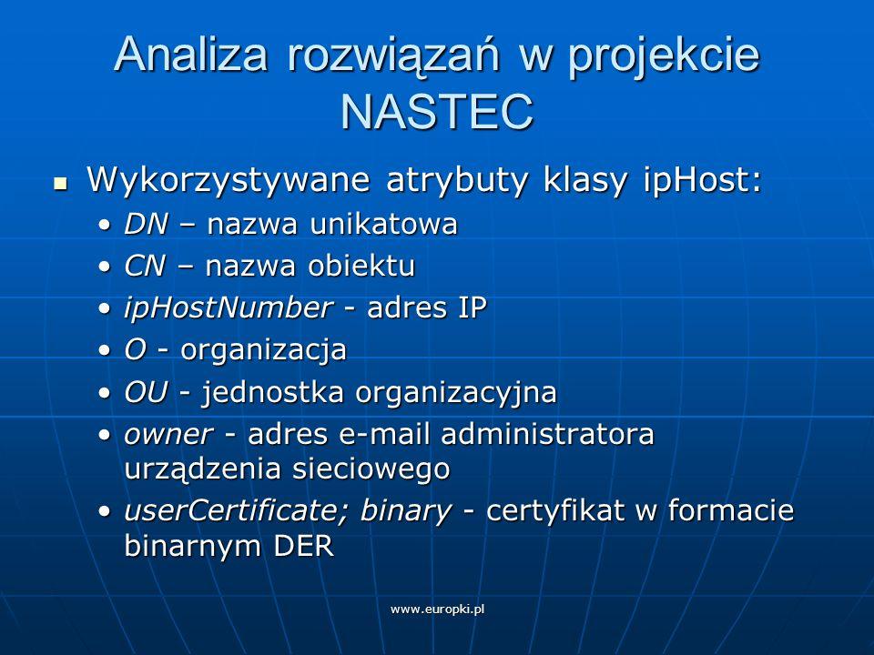 www.europki.pl Analiza rozwiązań w projekcie NASTEC Składowanie certyfikatów w formacie binarnym w userCertificate: Składowanie certyfikatów w formacie binarnym w userCertificate: możliwość pobierania/wyświetlania poprzez popularne przeglądarki:możliwość pobierania/wyświetlania poprzez popularne przeglądarki: Netscape Communicator 4.x Netscape Communicator 4.x Internet Explorer Internet Explorer