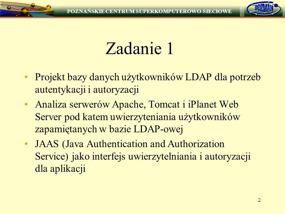 POZNAŃSKIE CENTRUM SUPERKOMPUTEROWO-SIECIOWE 2 Zadanie 1 Projekt bazy danych użytkowników LDAP dla potrzeb autentykacji i autoryzacji Analiza serwerów Apache, Tomcat i iPlanet Web Server pod katem uwierzyteniania użytkowników zapamiętanych w bazie LDAP-owej JAAS (Java Authentication and Authorization Service) jako interfejs uwierzytelniania i autoryzacji dla aplikacji