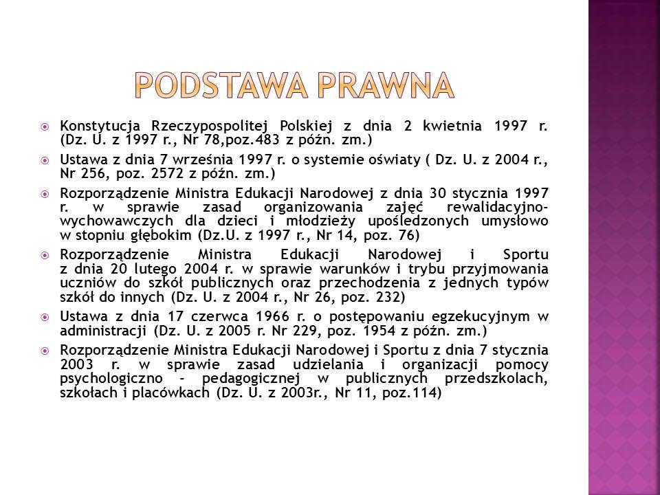 Konstytucja Rzeczypospolitej Polskiej z dnia 2 kwietnia 1997 r. (Dz. U. z 1997 r., Nr 78,poz.483 z późn. zm.) Ustawa z dnia 7 września 1997 r. o syste