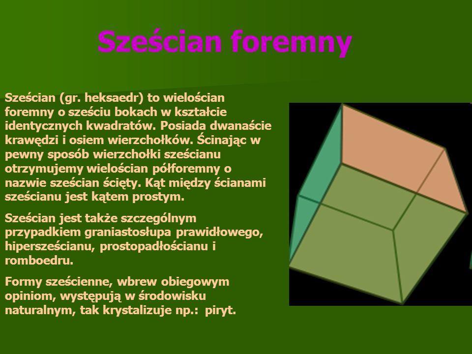 Sześcian (gr. heksaedr) to wielościan foremny o sześciu bokach w kształcie identycznych kwadratów. Posiada dwanaście krawędzi i osiem wierzchołków. Śc