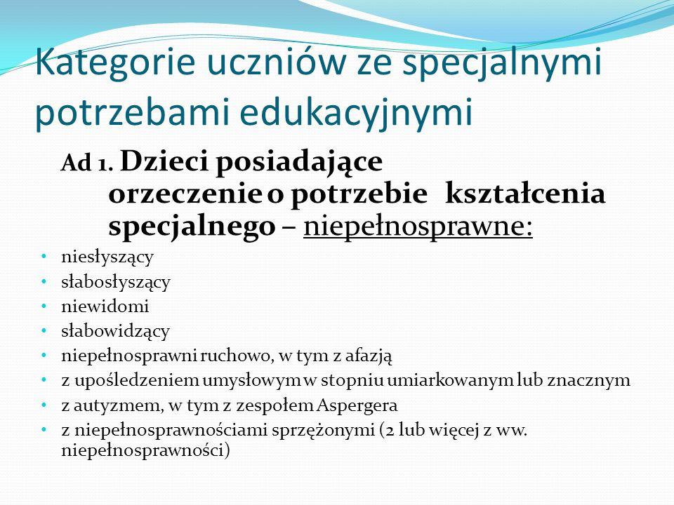 Kategorie uczniów ze specjalnymi potrzebami edukacyjnymi Ad 1. Dzieci posiadające orzeczenie o potrzebie kształcenia specjalnego – niepełnosprawne: ni