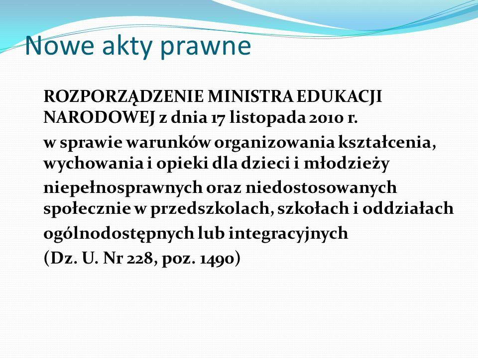 Nowe akty prawne ROZPORZĄDZENIE MINISTRA EDUKACJI NARODOWEJ z dnia 17 listopada 2010 r. w sprawie warunków organizowania kształcenia, wychowania i opi