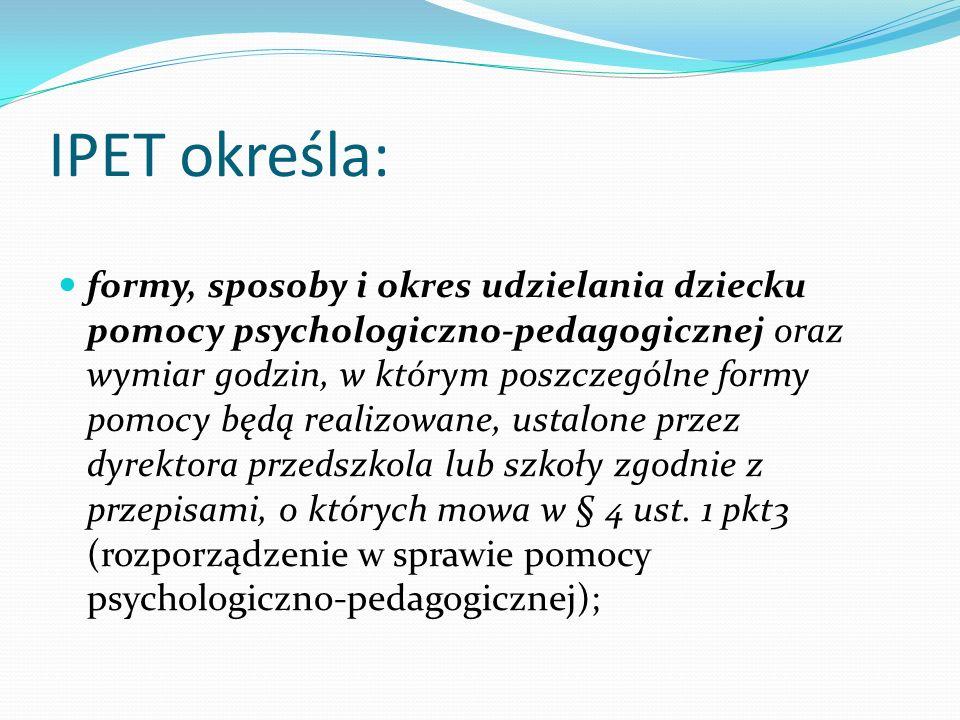 IPET określa: formy, sposoby i okres udzielania dziecku pomocy psychologiczno-pedagogicznej oraz wymiar godzin, w którym poszczególne formy pomocy będ