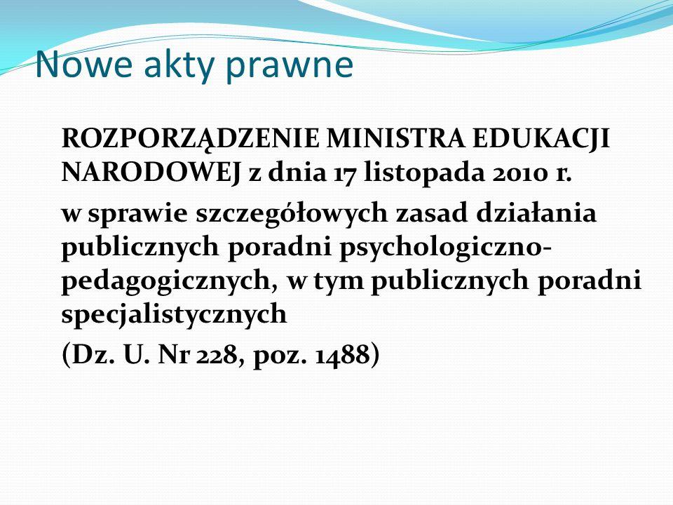 Nowe akty prawne ROZPORZĄDZENIE MINISTRA EDUKACJI NARODOWEJ z dnia 17 listopada 2010 r. w sprawie szczegółowych zasad działania publicznych poradni ps