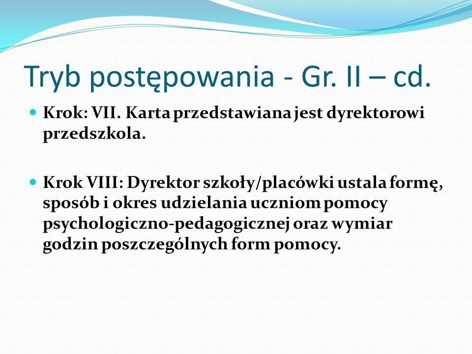 Tryb postępowania - Gr. II – cd. Krok: VII. Karta przedstawiana jest dyrektorowi przedszkola. Krok VIII: Dyrektor szkoły/placówki ustala formę, sposób