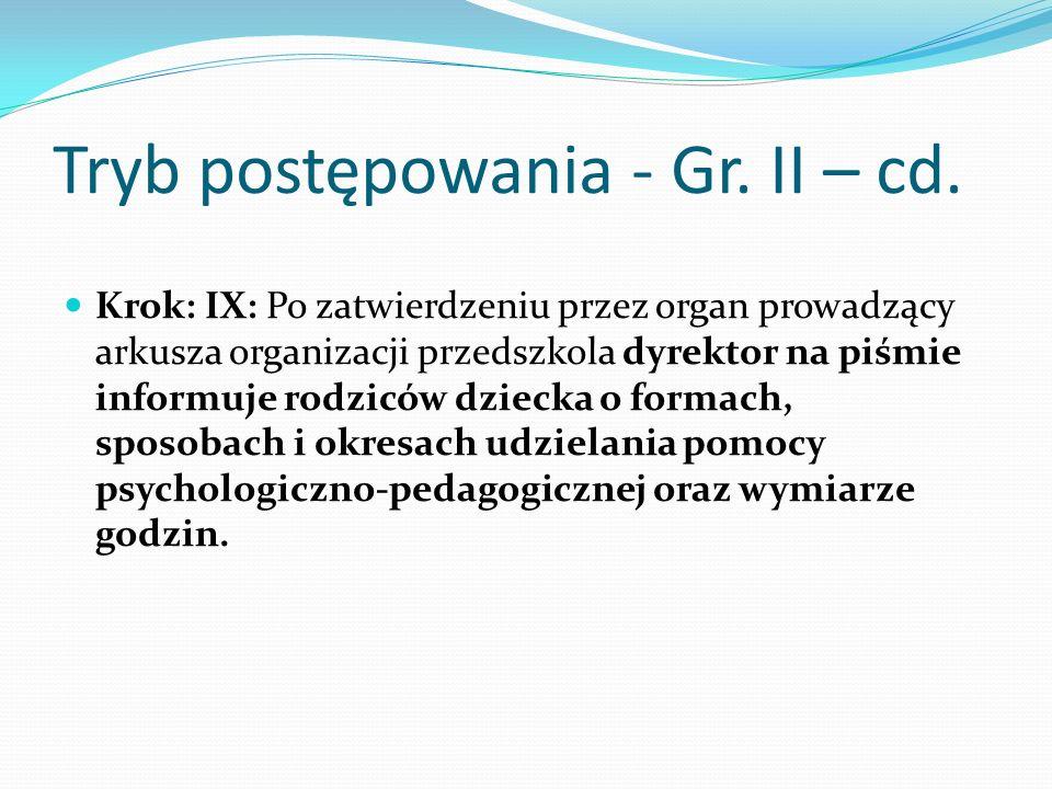 Tryb postępowania - Gr. II – cd. Krok: IX: Po zatwierdzeniu przez organ prowadzący arkusza organizacji przedszkola dyrektor na piśmie informuje rodzic