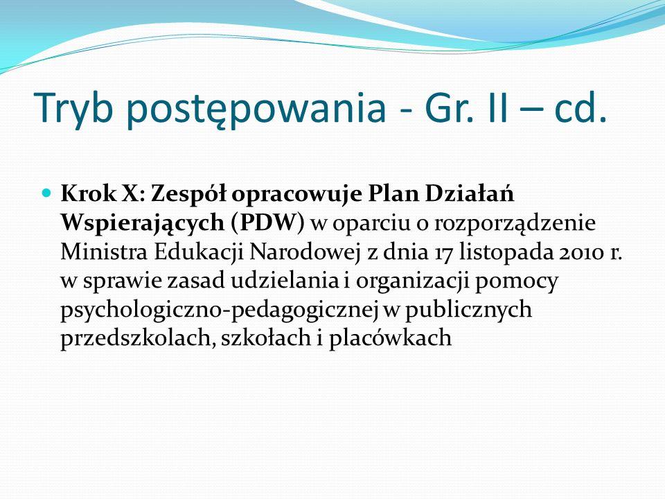 Tryb postępowania - Gr. II – cd. Krok X: Zespół opracowuje Plan Działań Wspierających (PDW) w oparciu o rozporządzenie Ministra Edukacji Narodowej z d
