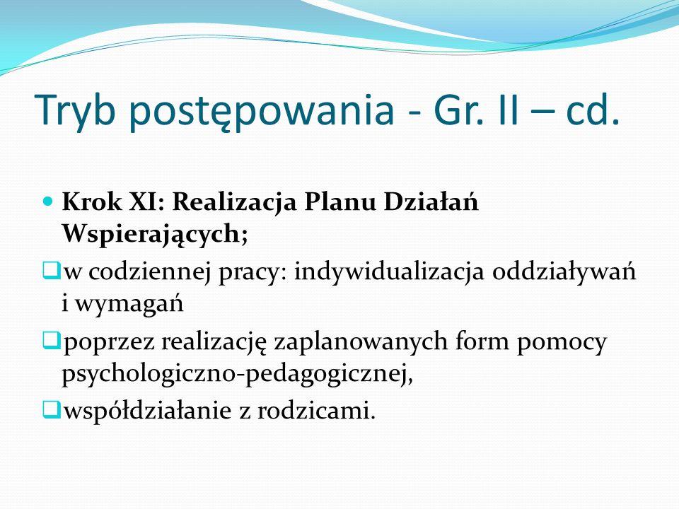Tryb postępowania - Gr. II – cd. Krok XI: Realizacja Planu Działań Wspierających; w codziennej pracy: indywidualizacja oddziaływań i wymagań poprzez r