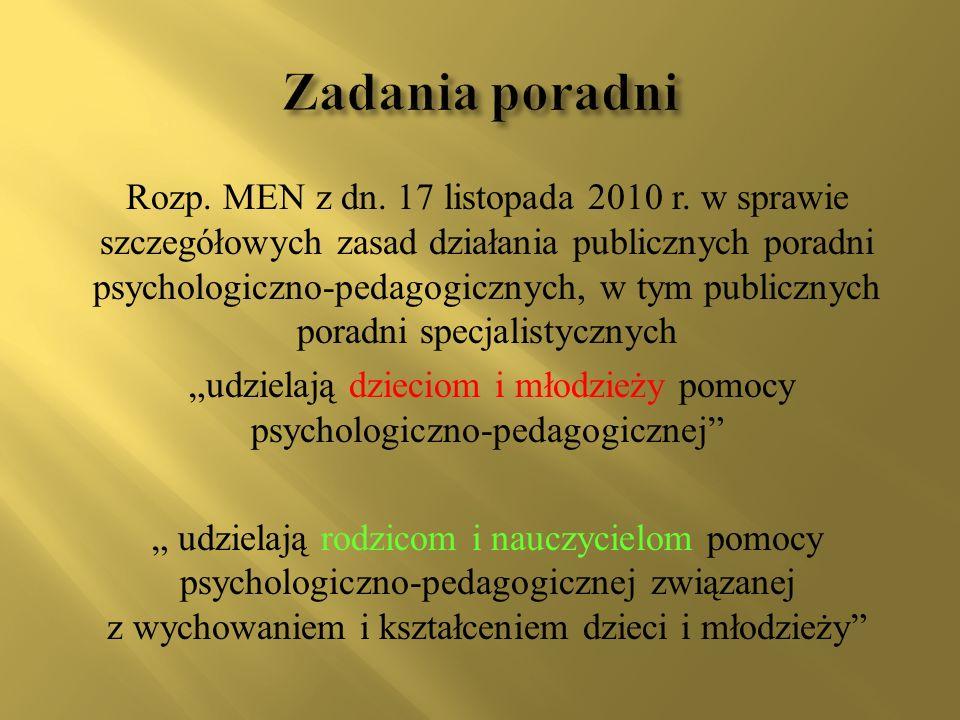 Rozp. MEN z dn. 17 listopada 2010 r. w sprawie szczegółowych zasad działania publicznych poradni psychologiczno-pedagogicznych, w tym publicznych pora