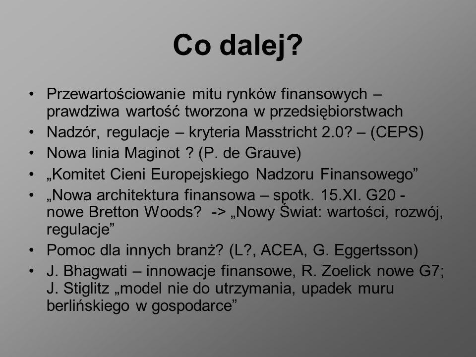 Co dalej? Przewartościowanie mitu rynków finansowych – prawdziwa wartość tworzona w przedsiębiorstwach Nadzór, regulacje – kryteria Masstricht 2.0? –