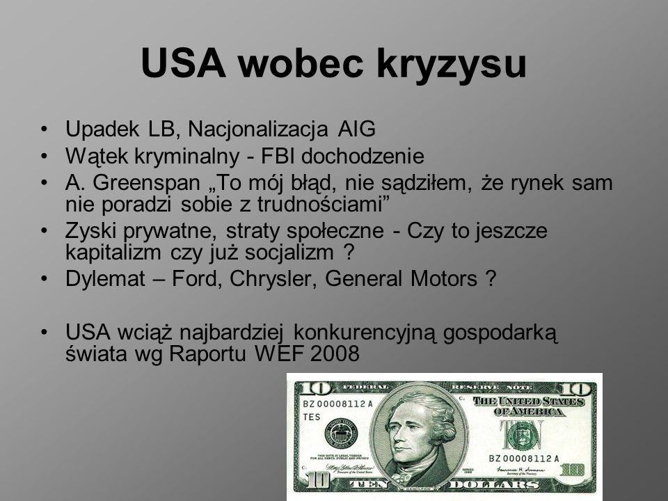 USA wobec kryzysu Upadek LB, Nacjonalizacja AIG Wątek kryminalny - FBI dochodzenie A. Greenspan To mój błąd, nie sądziłem, że rynek sam nie poradzi so