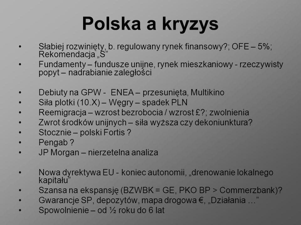 Polska a kryzys Słabiej rozwinięty, b. regulowany rynek finansowy?; OFE – 5%; Rekomendacja S Fundamenty – fundusze unijne, rynek mieszkaniowy - rzeczy