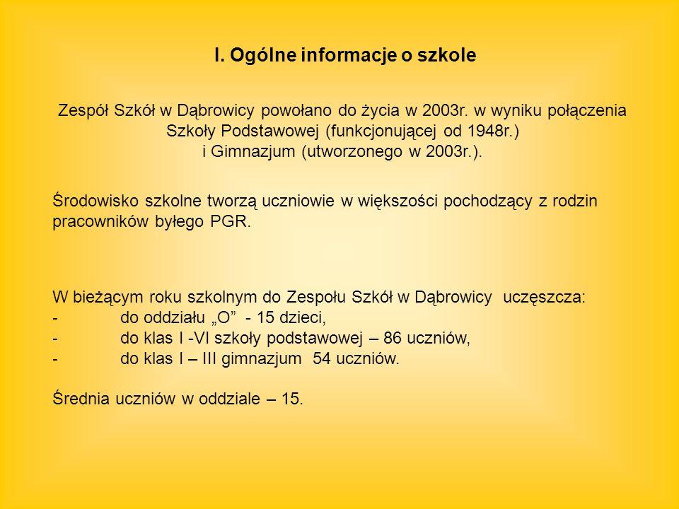 W bieżącym roku szkolnym do Zespołu Szkół w Dąbrowicy uczęszcza: - do oddziału O - 15 dzieci, - do klas I -VI szkoły podstawowej – 86 uczniów, - do kl
