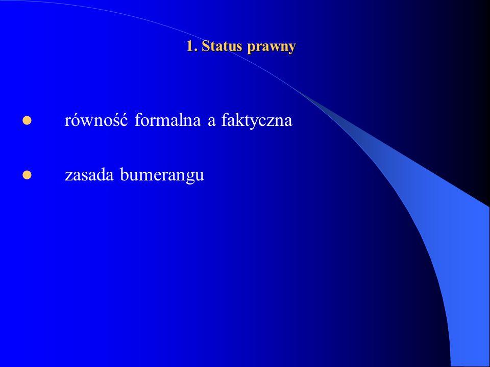 1. Status prawny równość formalna a faktyczna zasada bumerangu