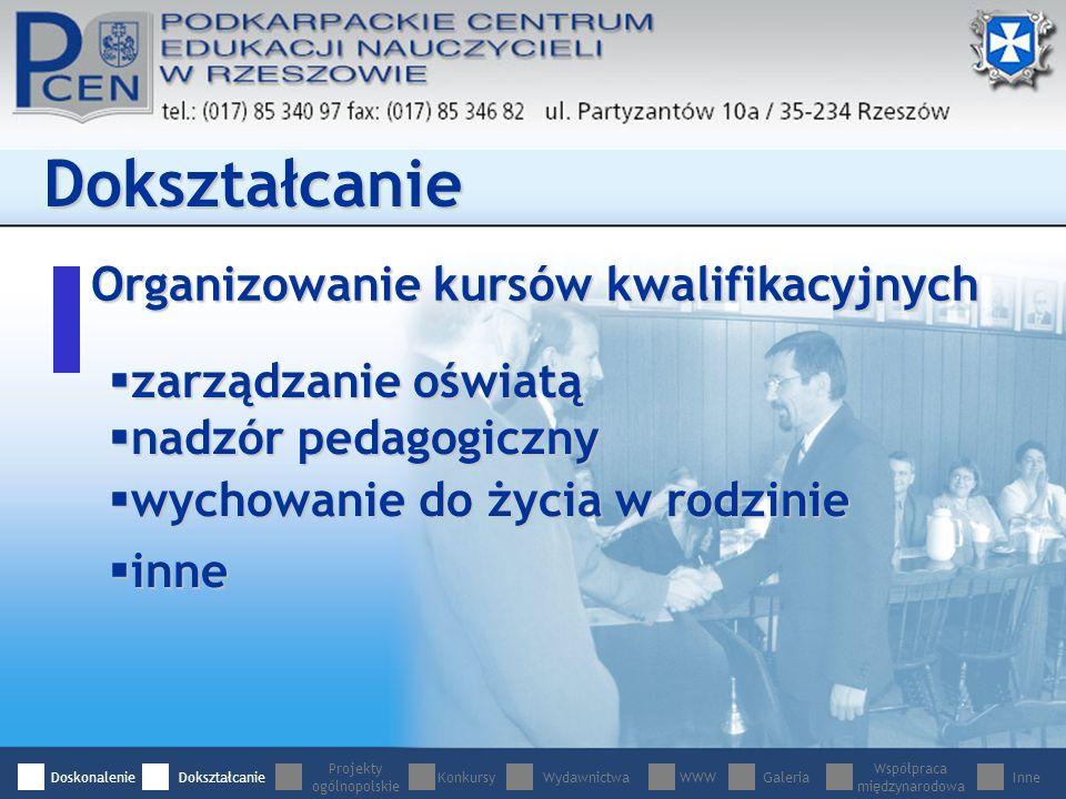 Organizowanie kursów kwalifikacyjnych Dokształcanie zarządzanie oświatą zarządzanie oświatą nadzór pedagogiczny nadzór pedagogiczny wychowanie do życia w rodzinie wychowanie do życia w rodzinie inne inne DoskonalenieDokształcanie Projekty ogólnopolskie WydawnictwaWWWGaleria Współpraca międzynarodowa InneKonkursy