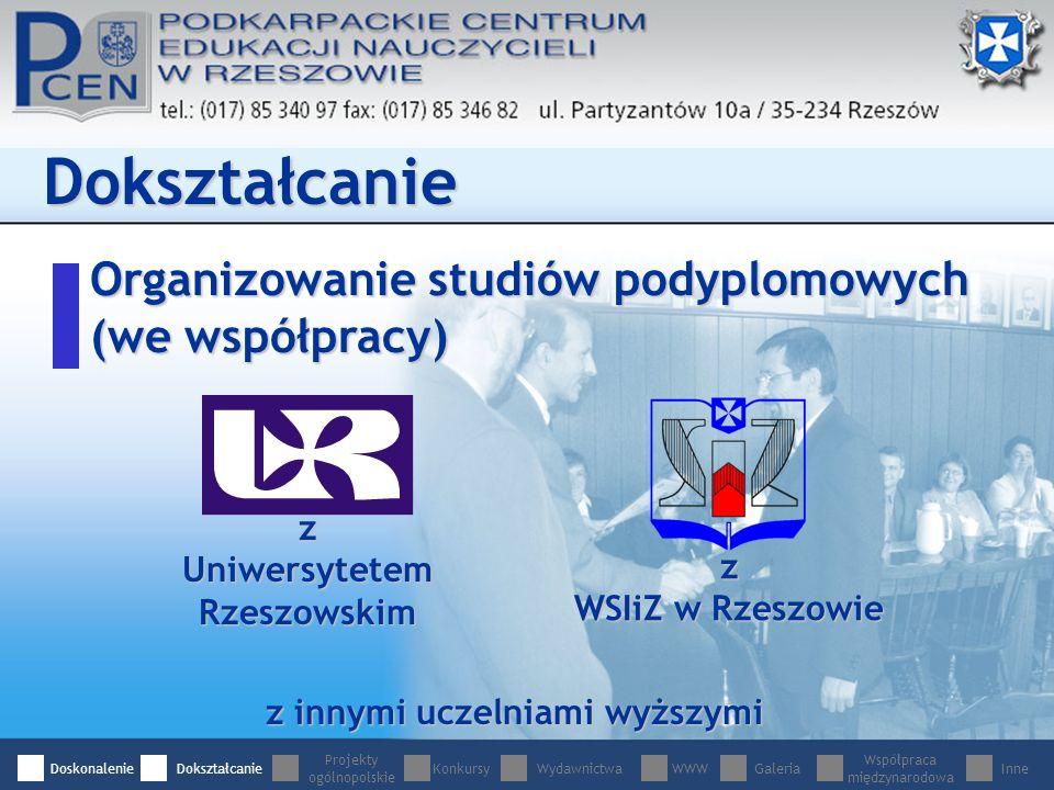 Organizowanie studiów podyplomowych (we współpracy) Dokształcanie z innymi uczelniami wyższymi z Uniwersytetem Rzeszowskim z WSIiZ w Rzeszowie DoskonalenieDokształcanie Projekty ogólnopolskie WydawnictwaWWWGaleria Współpraca międzynarodowa InneKonkursy