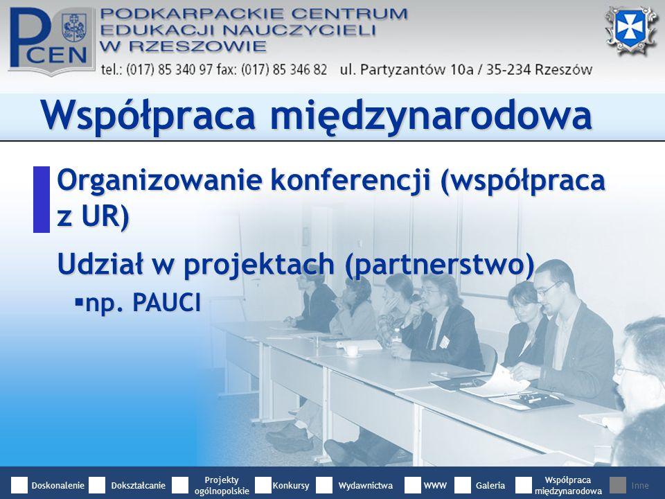 Organizowanie konferencji (współpraca z UR) Współpraca międzynarodowa Udział w projektach (partnerstwo) np.