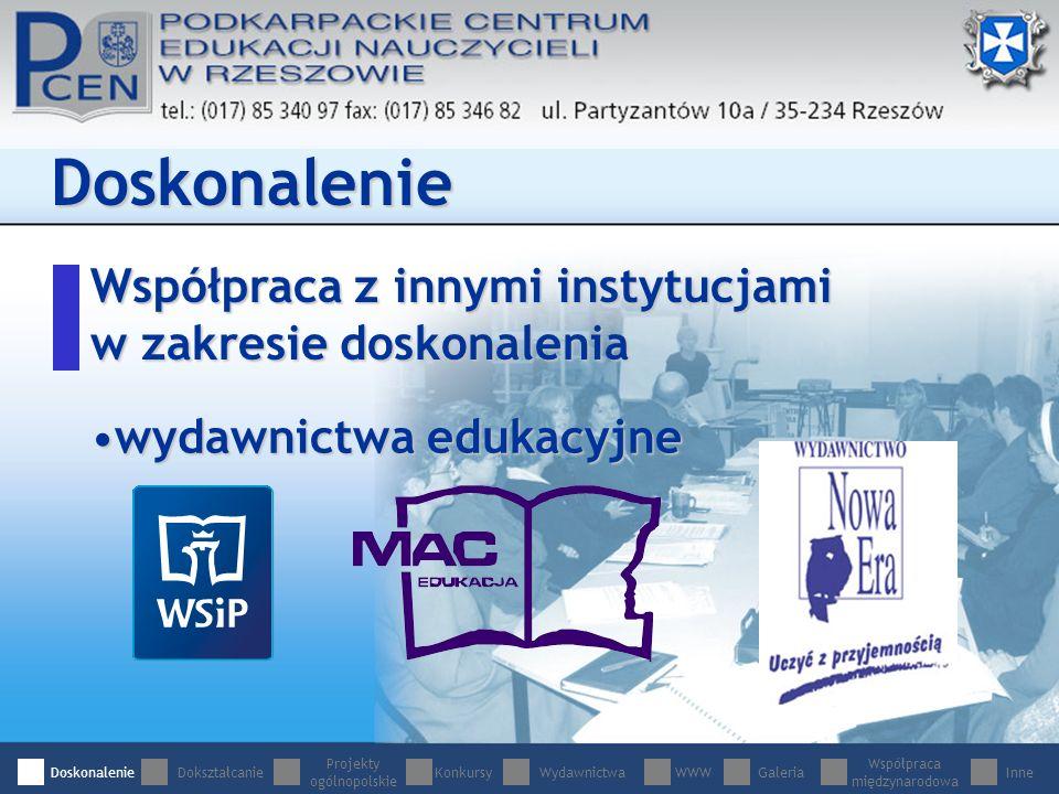 Współpraca z innymi instytucjami w zakresie doskonalenia Doskonalenie wydawnictwa edukacyjnewydawnictwa edukacyjne DoskonalenieDokształcanie Projekty ogólnopolskie WydawnictwaWWWGaleria Współpraca międzynarodowa InneKonkursy