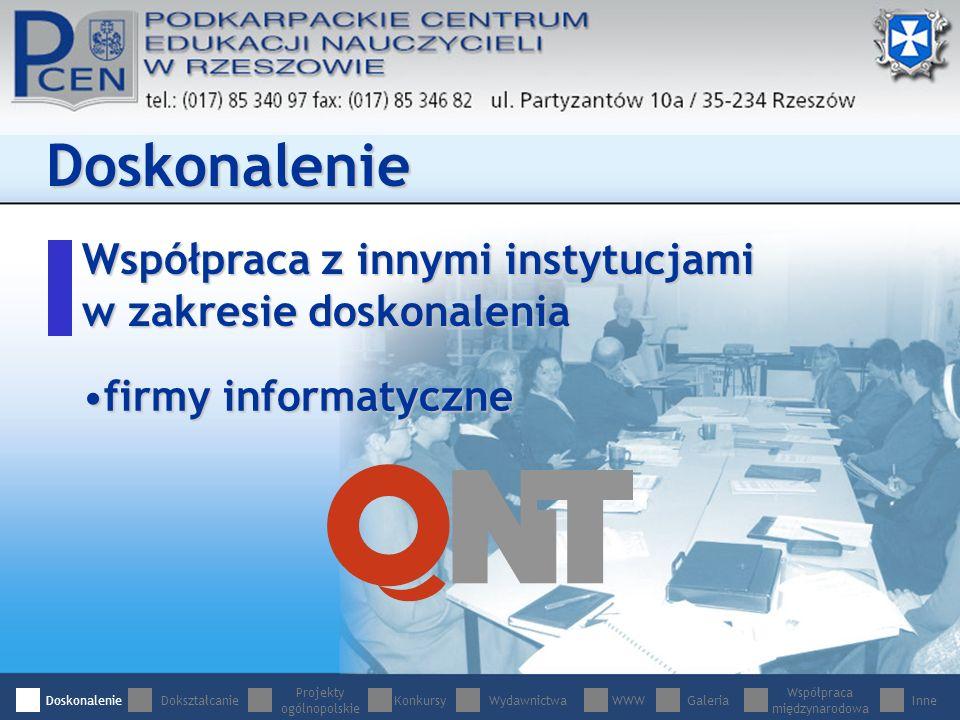 Współpraca z innymi instytucjami w zakresie doskonalenia Doskonalenie firmy informatycznefirmy informatyczne DoskonalenieDokształcanie Projekty ogólnopolskie WydawnictwaWWWGaleria Współpraca międzynarodowa InneKonkursy