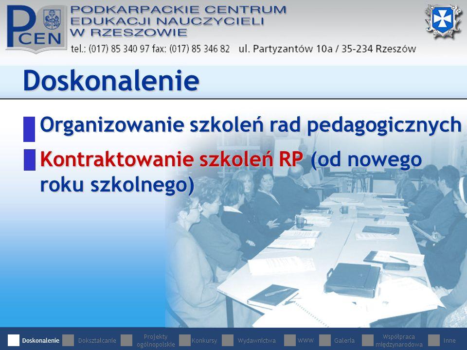 Organizowanie szkoleń rad pedagogicznych Doskonalenie Kontraktowanie szkoleń RP (od nowego roku szkolnego) DoskonalenieDokształcanie Projekty ogólnopolskie WydawnictwaWWWGaleria Współpraca międzynarodowa InneKonkursy