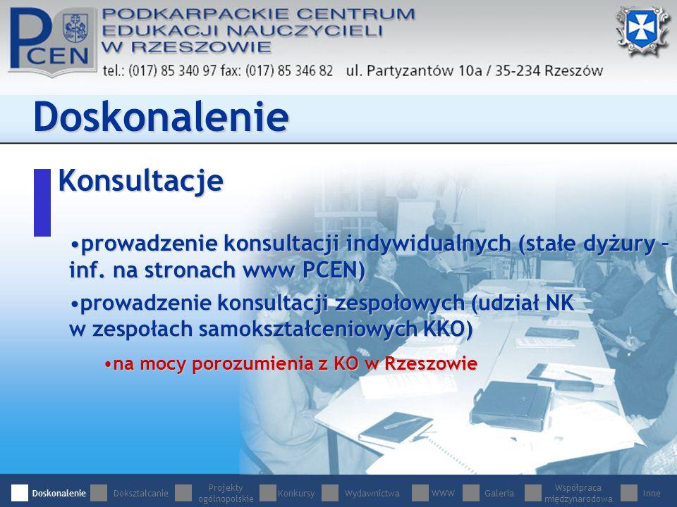 Konsultacje Doskonalenie prowadzenie konsultacji indywidualnych (stałe dyżury – inf.